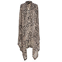 Beige palm print lightweight waterfall gilet