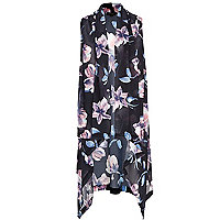 Black floral lightweight waterfall gilet
