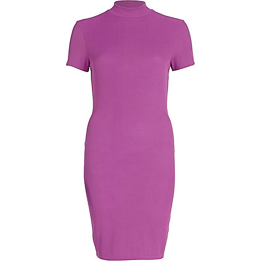 Light purple turtle neck midi dress