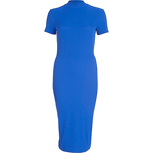 Bright blue turtle neck midi dress