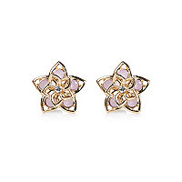 Light pink double layer flower stud earrings