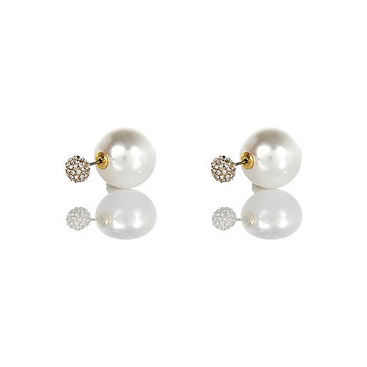 Faux pearl front and back earrings