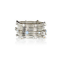 Silver tone gem stone bangle pack
