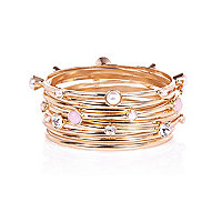 Gold tone embellished bangle pack