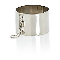 Silver tone chain detail bangle