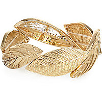 Gold tone leaf stretch bracelet