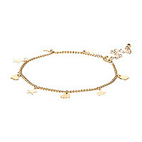 Gold tone heart and star anklet