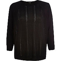 Black mixed stitch lightweight jumper