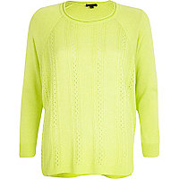 Lime mixed stitch lightweight jumper