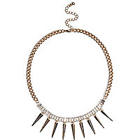 Gold tone baguette gem stone spike necklace