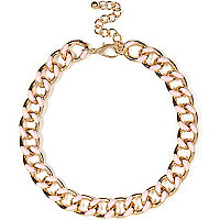 Light pink enamel detail curb chain necklace