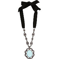 Light blue encrusted pendant necklace