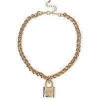 Gold tone padlock necklace