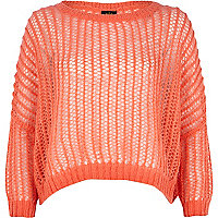Coral open knit cropped jumper