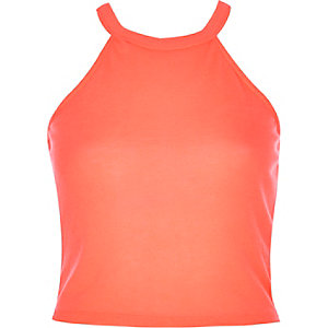 Bright coral racer front crop top