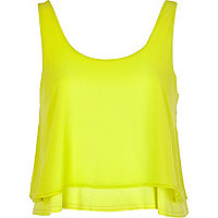 Lime double layered crop cami