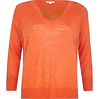 Orange linen split back top