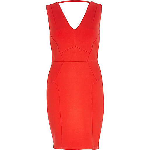 Bright red backless bodycon dress