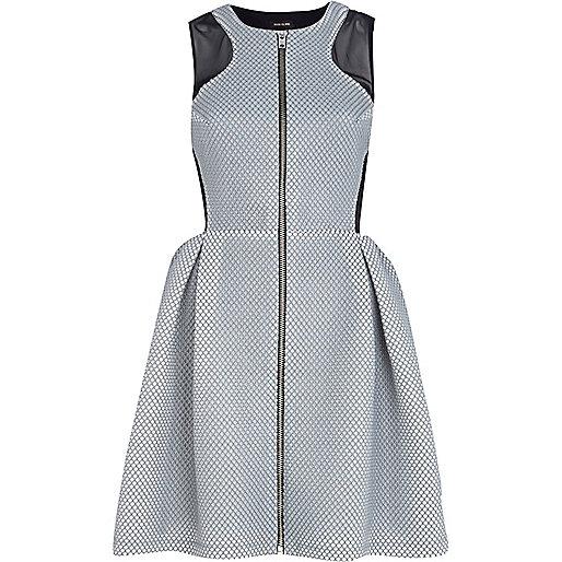 Black and white net zip through prom dress