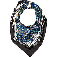 Black floral border print satin square scarf