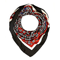 Red paisley print satin square scarf
