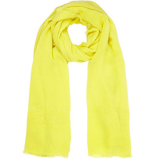 Yellow gauze laddered scarf