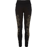 Black heatseal embellished leggings