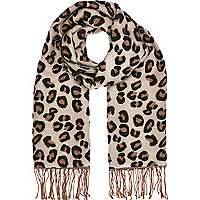 Brown leopard print blanket scarf