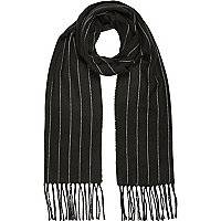 Dark green skinny stripe blanket scarf