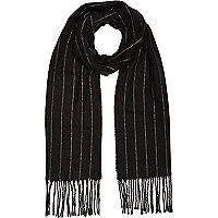Dark grey stripe blanket scarf