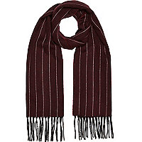 Dark red stripe blanket scarf