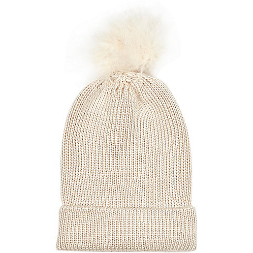 Cream marabou feather beanie hat