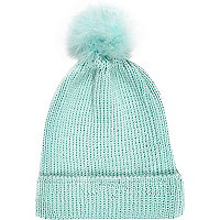 Mint green marabou feather beanie hat