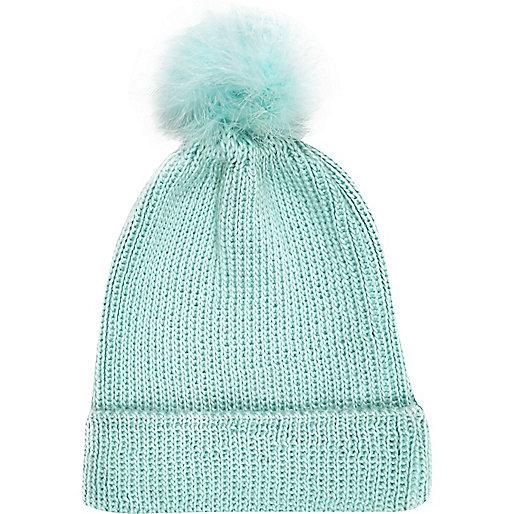 Mint green marabou feather beanie hat