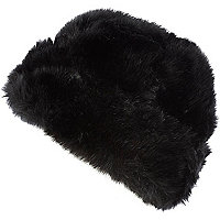 Black faux fur beanie hat