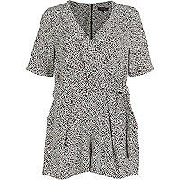 Black geometric wrap playsuit