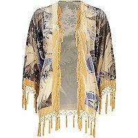 Cream floral devore fringed kimono