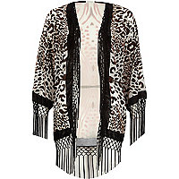 Cream animal print devore fringed kimono