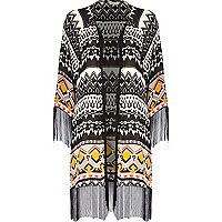 Black tribal print fringed kimono