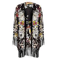 Black lily print fringed kimono