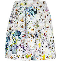 Grey floral print pleated mini skirt