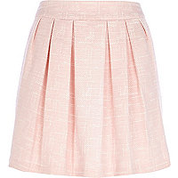 Light pink jacquard pleated mini skirt