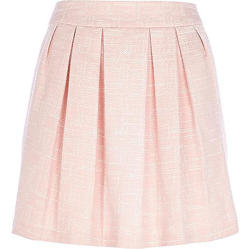 Light pink jacquard pleated mini skirt