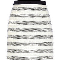 Cream boucle stripe mini skirt
