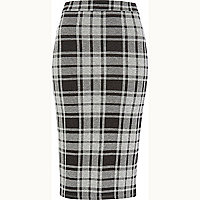 Grey check pencil skirt
