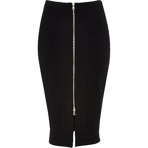 Black zip front pencil skirt