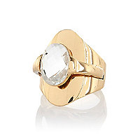 Gold tone overlay signet ring