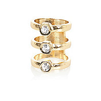Gold tone triple row diamante ring