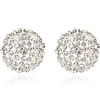 Silver tone encrusted round stud earrings