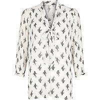 Cream flower print pussybow blouse